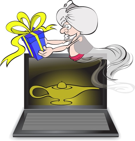 Genie with a gift in the hands fly out off from the notebook Vector