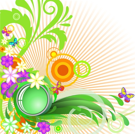 abstract summer background with flowers and butterflies