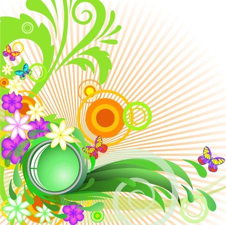 verano: fondo abstracto de verano con flores y mariposas