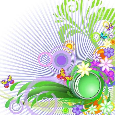 abstract summer background with flowers and butterflies on blue light Vector