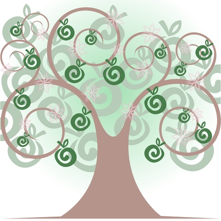 beautiful stylized tree with apples and flowers Vector