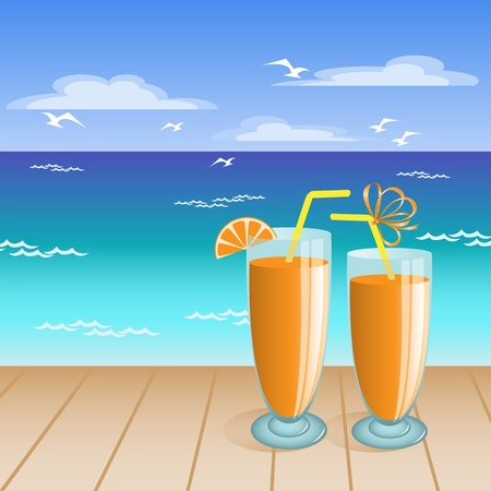 two glasses of orange drink on the background of a tropical beach Vector