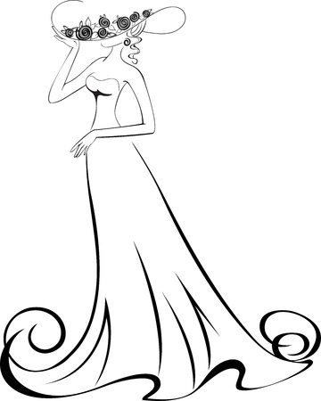 glamorous: sketch of a slender woman in a long dress and hat