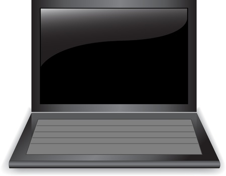 Open shiny black laptop on a white background Stock Vector - 10316544