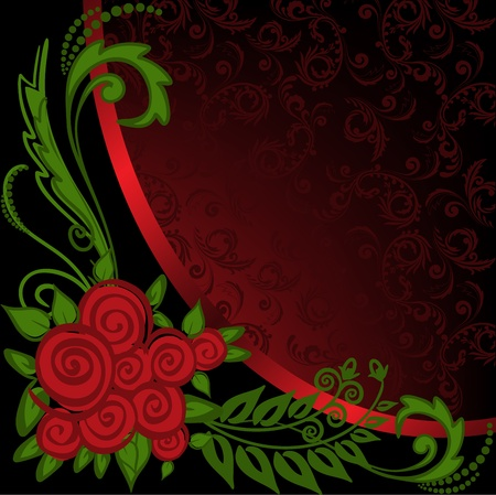 asymmetrical: asymmetrical black and red background with ornaments and roses Illustration