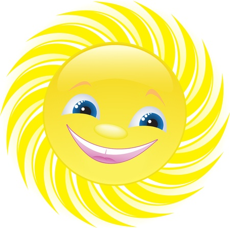 cheerful smiling sun with blue eyes Vector