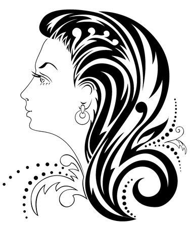 silhouette of a beautiful womans head with an elaborate hairdo Vector