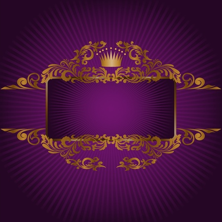 horizontal banner and a frame with gold ornaments and a crown Vector