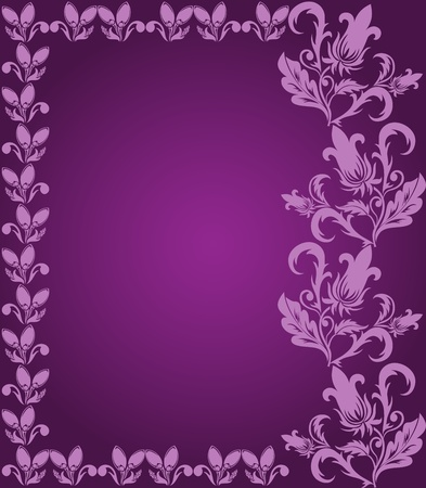 purple background with pink floral frame Vector