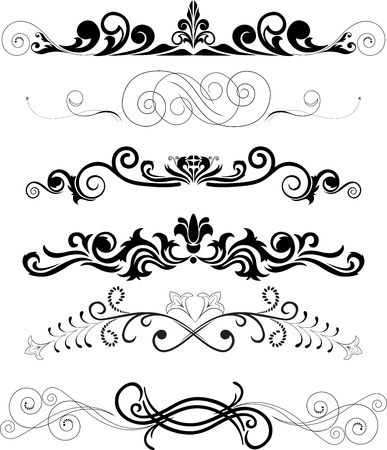 illustration: set of swirling  decorative floral elements