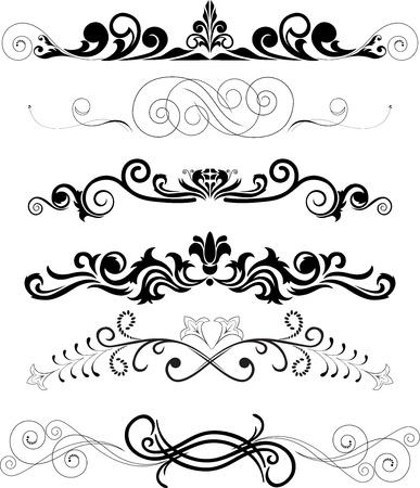 accents: Ilustraci�n: conjunto de elementos florales decorativos remolino  Vectores