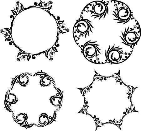 Black and white symmetric circular patterns Vector