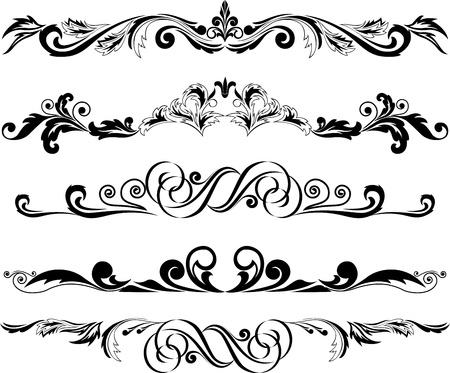 horizontal lines: Ilustraci�n: conjunto de elementos horizontales decorativos de dise�o Vectores