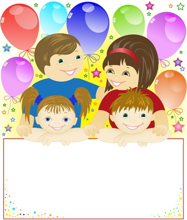 child holding sign: happy family holding a big poster on the background of the balls and stars Illustration