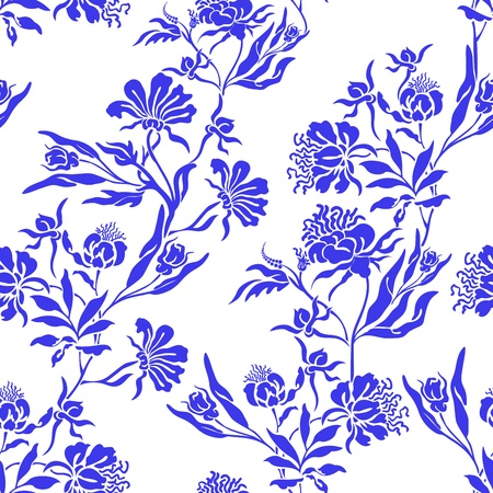 distributed: seamless white background with randomly distributed blue posies