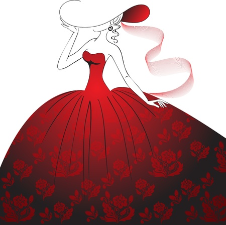 Lady in a hat  and a long dress with floral pattern Vector