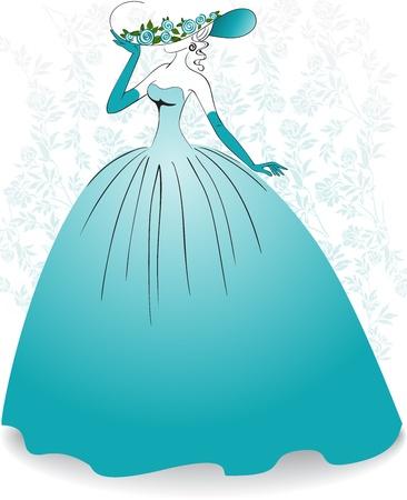 abito elegante: Donna in guanti e un vestito lungo blu sullo sfondo fiore