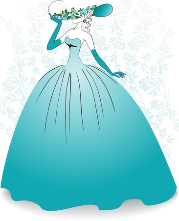 defiant: Woman in gloves and a long blue dress on the flower background Illustration