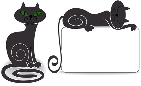 imaginary line: two stylized cat for your design