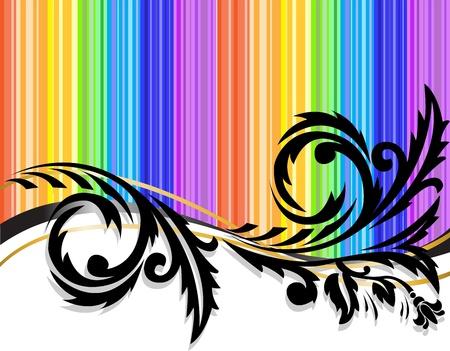 rainbow stripe: Black horizontal pattern on rainbow background Illustration