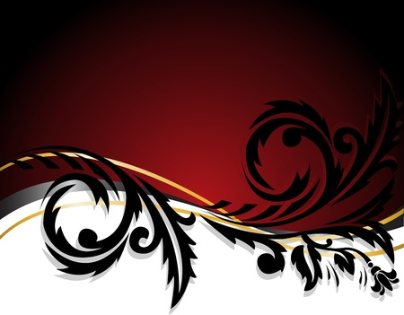 abstract white and red background with horizontal black ornament Stock Vector - 10477819