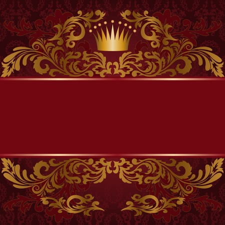 dark red background with ornate gilded ornament Vector