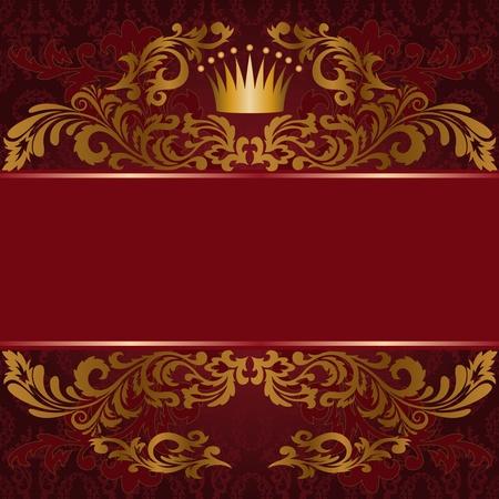 flowery: fondo rojo oscuro con adornos dorados adornados