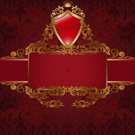 medieval banner: frame with gold ornaments and a shield on red background