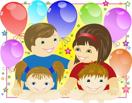 happy family on the background of the balls and stars Stock Vector - 10477822