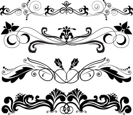 accent abstract: Illustration: four horizontal decorative ornament