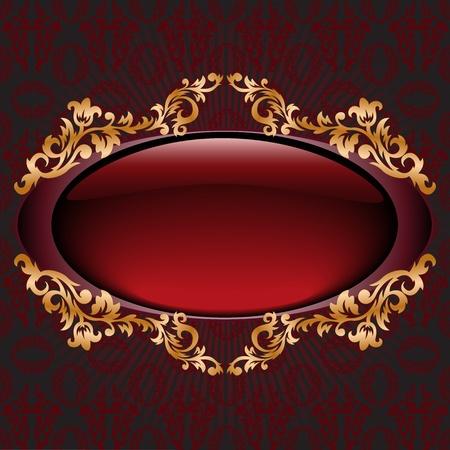 flowery: brillante vignette rojo oscuro con adorno dorado Vectores