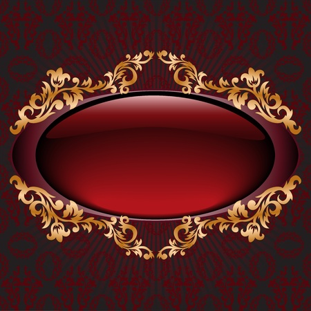 glossy dark red vignette with gilded ornament Vector