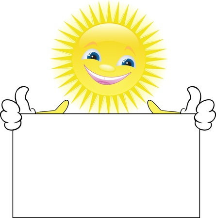keeps: funny smiling sun keeps in hand a large white poster Illustration