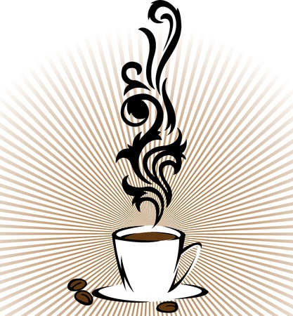 Stylized cup of coffee with clouds of steam on the radiant background Stock Vector - 10745299