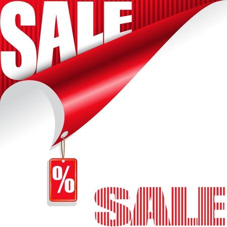 割引: あなたのデザインのための販売の要素を持つ白と赤の背景