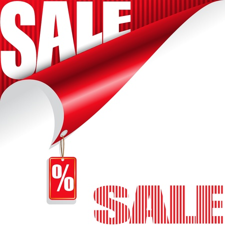 promotion icon: white and red  background with elements of the sale for your design Illustration
