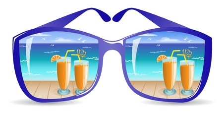 protective spectacles: two glasses with orange drink on the beach are reflected in sunglasses