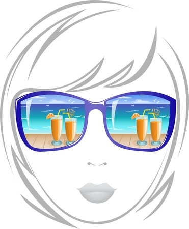 portrait beautiful girl wearing sunglasses with a reflection of the beach Illustration