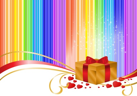 golden gift box on a striped rainbow background with sparkles Vector