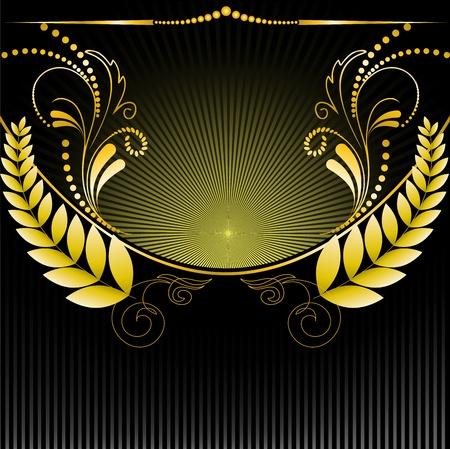 semicircular: gilt floral ornament on black background radiant Illustration