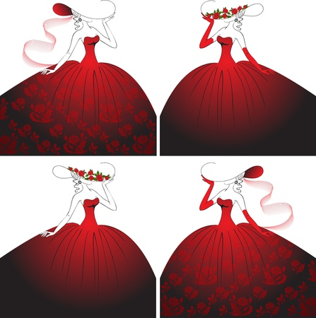 four elegant women in beautiful ball gowns and hats Vector