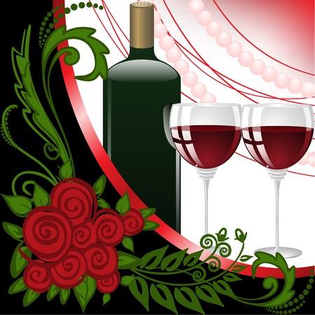 burgundy ribbon: bottiglia e due bicchieri di vino su sfondo nero e bianco con perle