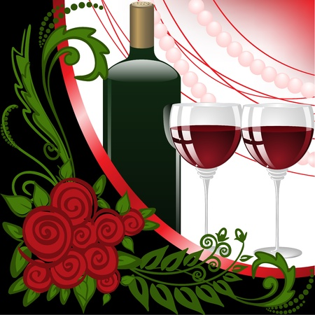 bottle and two glasses of wine on black and white background with pearls Vector