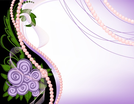 bridal: gala black-and-purple background with pearls and roses Illustration