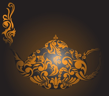 steam of a leaf: teapot with golden ornament and clouds of steam Illustration