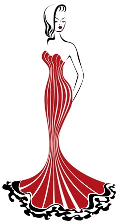 beautiful elegant woman in a long red dress Stock Vector - 10851062