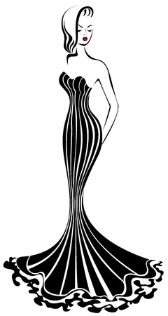 silhouette of  elegant woman in a long black dress 向量圖像
