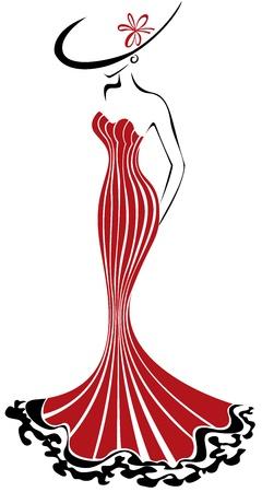ankleiden: Silhouette einer schlanken Frau in einem langen roten Kleid und Hut