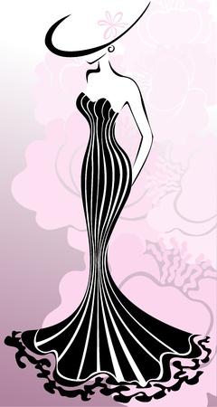femme dressing: femme mince dans une robe longue dans un contexte de fleurs roses