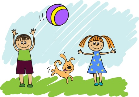 throwing ball: happy children with a dog playing ball
